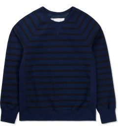 Reigning Champ Navy/Black RC-3233 Stripe Terry Crewneck Picutre