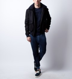 Reigning Champ Navy/Black RC-3233 Stripe Terry Crewneck Model Picutre