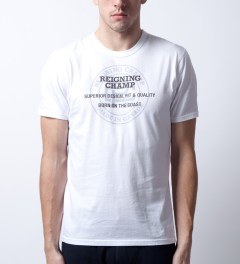 Reigning Champ White RC-1028-2 Super Graphic Print Superior T-Shirt Model Picutre