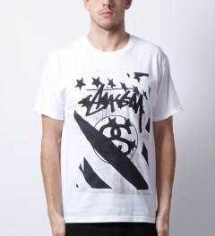 Stussy White/Black Stussy Flag T-Shirt Model Picutre