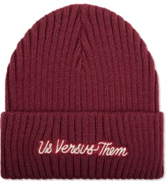 Us Versus Them Red Long Distance Cuff Beanie  Picutre