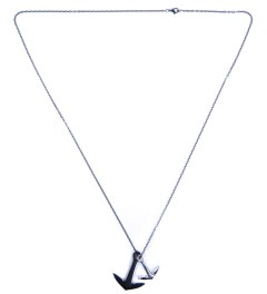 Miansai Black Double Anchor Silver Necklace Model Picutre