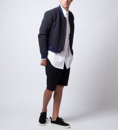 3.1 Phillip Lim Navy Cropped Zip Up Jacket  Model Picutre