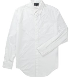 3.1 Phillip Lim White L/S Button Up W/ Seamed Lightning Shirt  Picutre