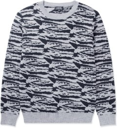 A.P.C. Grey/Black Tiger Streaked Motif Sweater Picutre