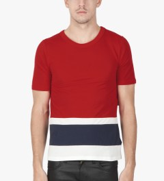 Band of Outsiders Tango Red SS Panel Stripe T-Shirt  Model Picutre