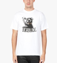Deadline White Black Cat T-Shirt Model Picutre