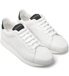 KRISVANASSCHE White Croco Pattern Low Sneakers Model Picutre