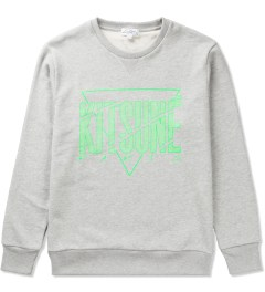 Kitsuné Tee Grey Melange Cracked Kitsune Sweater Picutre