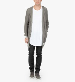 Munsoo Kwon Grey Hole Punch Long Cardigan  Model Picutre
