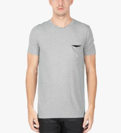 Munsoo Kwon Light Grey Melange Contrast Pocket T-Shirt Model Picutre