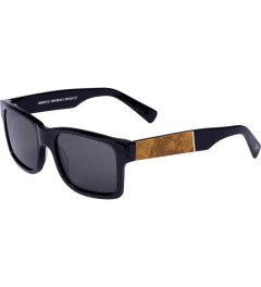 Shwood Grey Polarized Black/Maple Burl Haystack Sunglasses     Model Picutre