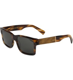 Shwood Grey Polarized Tortoise Shell/Maple Burl Haystack Sunglasses    Model Picutre