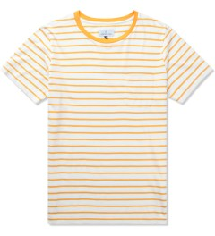 Hentsch Man Burnt Yellow Ecru Pocket Stripe T-Shirt   Picutre