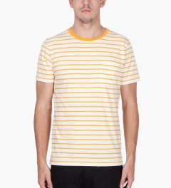 Hentsch Man Burnt Yellow Ecru Pocket Stripe T-Shirt   Model Picutre