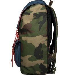 Herschel Supply Co. Woodland Camo/Navy/Red Rubber Little America Backpack Model Picutre