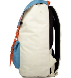 Herschel Supply Co. Bone/Punch Bug Blue/Synchro Red Little America Backpack Model Picutre
