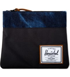 Herschel Supply Co. Black/Acid Denim Large Field Pouch Picutre