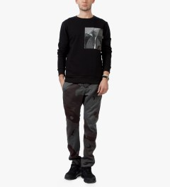 Matthew Miller Black Foil Pocket Sweater Model Picutre