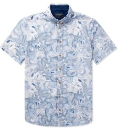 i love ugly. Blue Cartoon Short Sleeve Shirt   Picutre