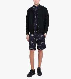 Libertine-Libertine Navy Monkey King Print Hunter S/S Shirt Model Picutre