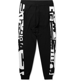 McQ by Alexander McQueen Black/White MCQ Text Stripe Print Jogger Pants Picutre