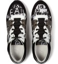Optic White MCQ Leather Text Stripe Print Runners