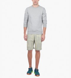 Reigning Champ Heather Grey/Ivory RC-5019-21 Knit Midweight Twill Terry Geometric Print Sweatshort Model Picutre
