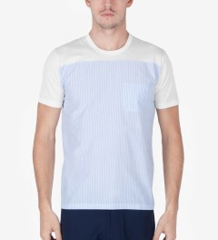 Aloye White/Light Blue Fabrics #5 Color Blocked S/S T-Shirt Model Picutre