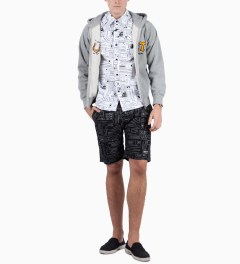 The Hundreds Black Geo Otis Board Short Model Picutre