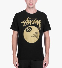Stussy Black Worldwide 8 Ball T-Shirt Model Picutre