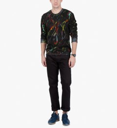 McQ by Alexander McQueen Black Scratched Print Clean Crewneck Sweater Model Picutre