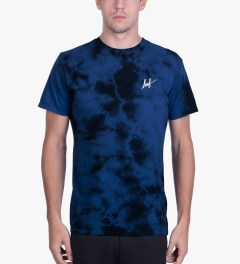 HUF Royal Blue Small Script Crystal Wash T-Shirt Model Picutre