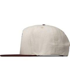 Primitive White/Burgundy Primitive x Mishka Snapback Cap Model Picutre