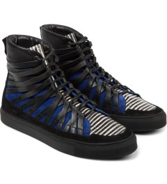 Damir Doma Black/Blue FALCO High Layered Sneakers Model Picutre