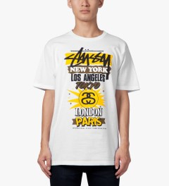Stussy White International World Tour T-Shirt Model Picutre