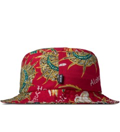 HUF Red Souvenir Bucket Hat Model Picutre