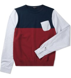 CASH CA Navy/Red Knit Sweater Picutre