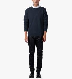 Matthew Miller Navy Rouge Stripe Sweater Model Picutre