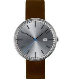 Uniform Wares Brushed/Brown Leather 203 Series Calendar Wristwatch Picutre