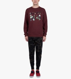 Stussy Dark Red Flags No.4 Sweater Model Picutre