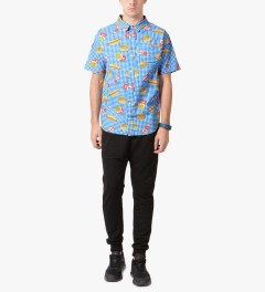 Odd Future Blue Musty Burger S/S Woven Shirt Model Picutre