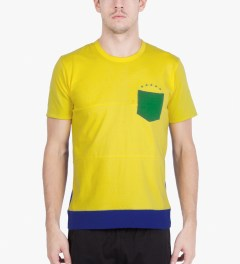 Aloye Aloye x WONG WONG Yellow/Blue Brazil Color Blocked S/S T-Shirt Model Picutre