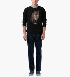 Maison Kitsune Black Walking Fox Print R-neck Sweater Model Picutre