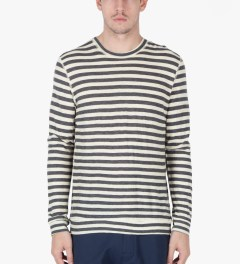 Naked & Famous Grey/Ivory Slim Crewneck Striped T-Shirt Model Picutre