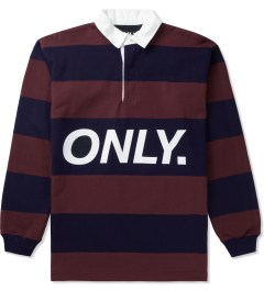 ONLY Burgundy/Navy Logo Rugby Shirt Picutre