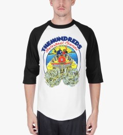 The Hundreds Black/White Motorboat Baseball ¾ Sleeve T-Shirt Model Picutre
