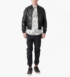 MKI BLACK Black High Grain Raglan Bomber Jacket Model Picutre
