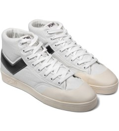 PONY White/Black Vintage Slamdunk Hi Canvas Sneakers Model Picutre