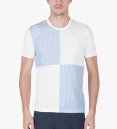 Aloye White/Light Blue Fabrics #3 Color Blocked S/S T-Shirt Model Picutre